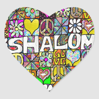 Retro 60s Psychedelic Shalom LOVE Heart Sticker
