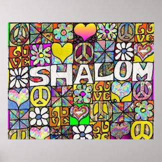 Retro 60s Psychedelic Shalom LOVE Print Poster