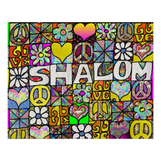 Retro 60s Psychedelic Shalom LOVE Print Poster