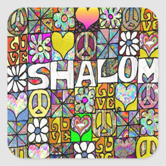 Retro 60s Psychedelic Shalom LOVE Square Sticker