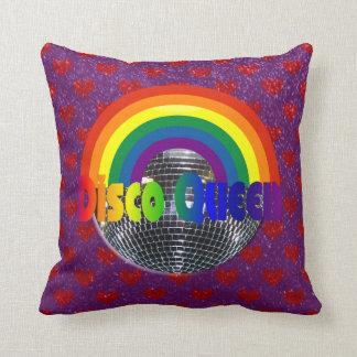Retro 70s Disco Ball Dance Queen   Rainbow Hearts Throw Pillow