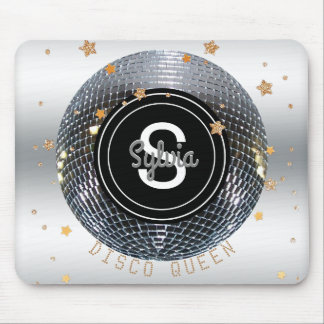 Retro 70s Disco Ball Dancing Queen | Monogrammed Mouse Pad