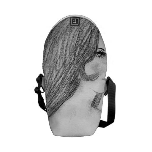 Retro 70's Fashion Model Bikini Girl Messenger Bags