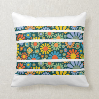 Retro 70s Flower Power Stripes Throw Pillow