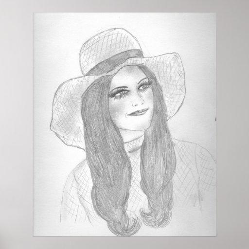 Retro 70s Girl in Hat Poster