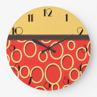 Retro 70s Inspired Orange & Yellow Art Large Clock
