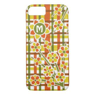 Retro 70s Orange Plaid Floral Monogram iPhone 8/7 Case