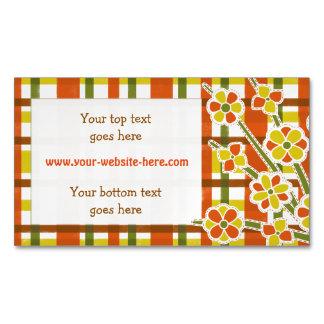 Retro 70s Orange Yellow Plaid Floral Custom Business Card Magnet
