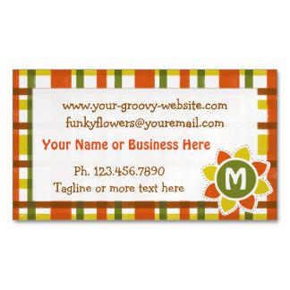Retro 70s Orange Yellow Plaid Monogram Flower Magnetic Business Card