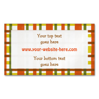Retro 70s Orange Yellow Plaid Personalized Magnetic Business Card