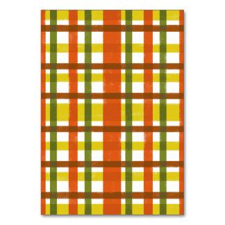 Retro 70s Orange Yellow Plaid Table Card