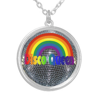 Retro 70s Rainbow | Silver Disco Ball Dance Queen Silver Plated Necklace