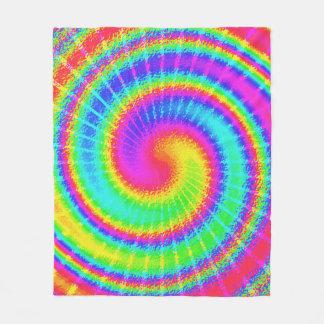 Retro 70s TieDye Hippie Psychedelic Colorful Fleece Blanket