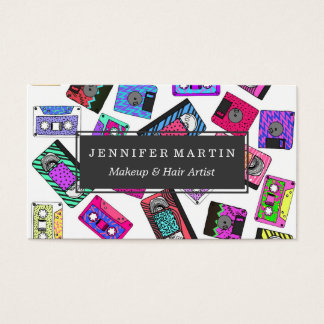 Retro 80's 90's Neon Patterned Cassette Tapes Business Card