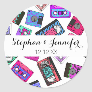 Retro 80's 90's Neon Patterned Cassette Tapes Round Sticker