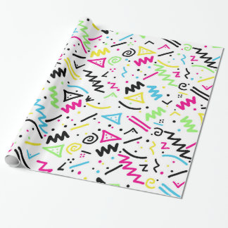 Retro 80's 90's Neon Pink Green Blue Yellow Doodle