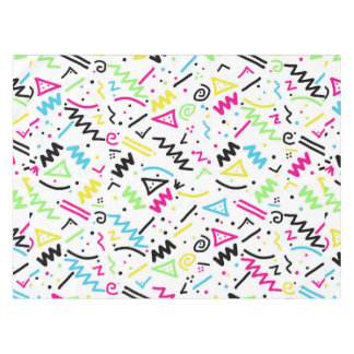 Retro 80's 90's Neon Pink Green Blue Yellow Doodle Tablecloth