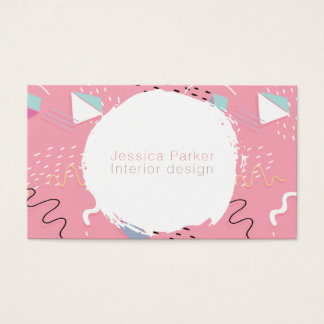 Retro 80's 90's Pink Sketched Doodle Shapes Business Card