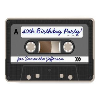 Retro 80s Cassette Tape 40th Birthday Invitation