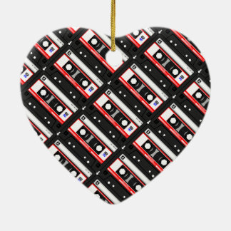 Retro 80's cassette tape ceramic heart ornament