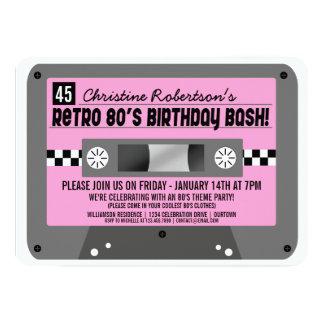 """Retro 80's Cassette Tape Party Invitations 5"""" X 7"""" Invitation Card"""