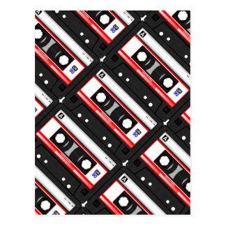 Retro 80's cassette tape postcard