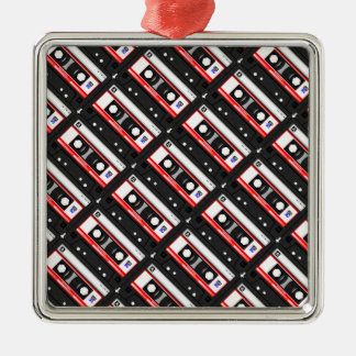 Retro 80's cassette tape Silver-Colored square ornament