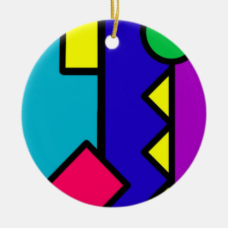 Retro 80s Color Block Round Ceramic Ornament