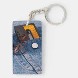 Retro 80's Design - Audio Cassette Tape Double-Sided Rectangular Acrylic Keychain
