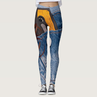 Retro 80's Design - Audio Cassette Tape in Jeans Leggings