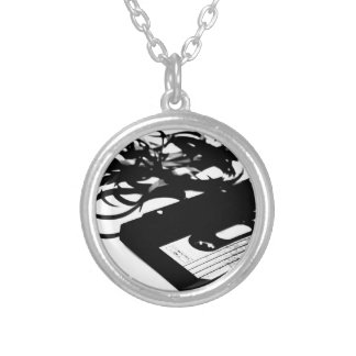 Retro 80's Design - Audio Cassette Tape Silver Plated Necklace