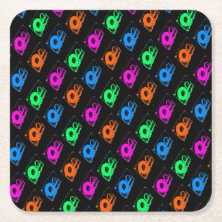 Retro 80's Design - Audio Cassette Tapes Square Paper Coaster