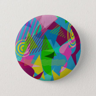 Retro 80's Geometric Shapes 2 Inch Round Button