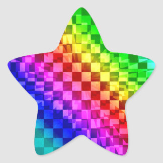 Retro 80s punk rainbow check pattern star sticker