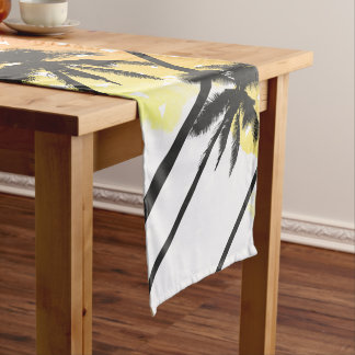 Retro 80's Summer Palm Trees Geometric Triangles Short Table Runner