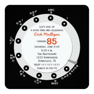 Retro 85th Birthday Party Invitation Rotary Dial