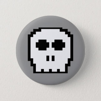 Retro 8-bit Skull 2 Inch Round Button