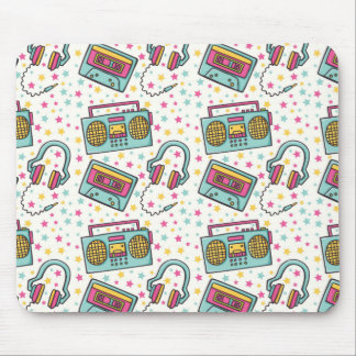 Retro 90s Cassette Tape Boombox 80s Star Mousepad
