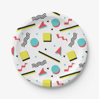 Retro 90s Seamless Pattern Paper Plate