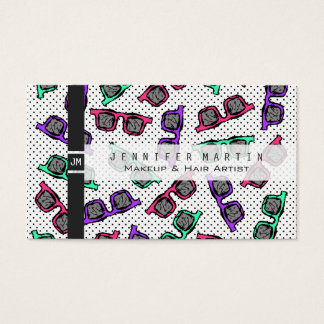 Retro 90s Sunglasses Sketched in Pink Teal Purple Business Card