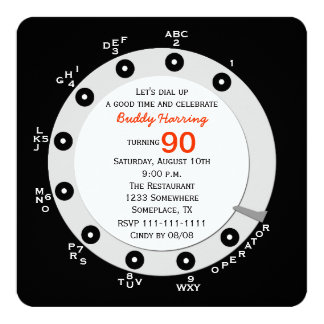 Retro 90th Birthday Party Invitation Rotary Dial