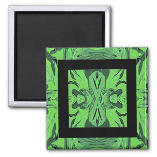 Retro Abstract Art in Green Square Magnet
