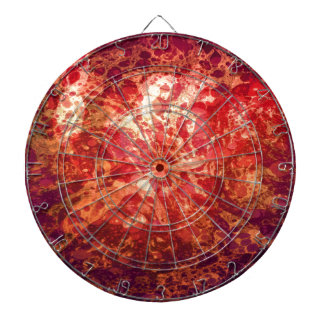 Retro Abstract Art Swirls Bubbles Red Purple Gold Dartboard