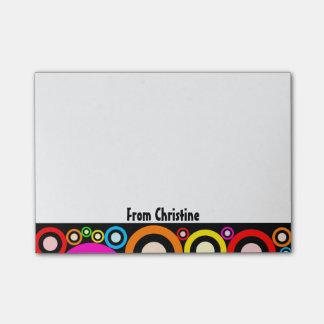 Retro Abstract Circles and Name Post-it Notes