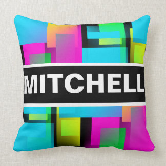 Retro Abstract Confetti Black Personalized Throw Pillow