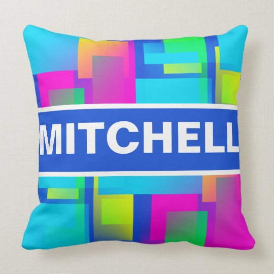 Retro Abstract Confetti Blue Personalized Throw Pillow