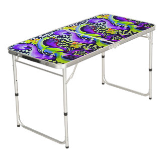 Retro Abstract Electric Blue and Harlequin Green Beer Pong Table