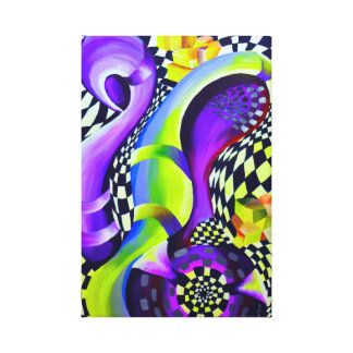 Retro Abstract Electric Blue and Harlequin Green Canvas Print