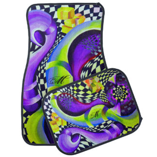 Retro Abstract Electric Blue and Harlequin Green Car Mat