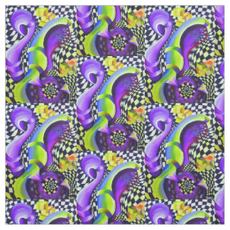 Retro Abstract Electric Blue and Harlequin Green Fabric